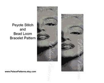Black and White Marilyn Monroe Bead Loom Weaving Pattern - Marilyn Monroe Peyote Bracelet Pattern