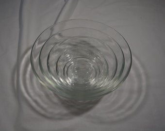 Duralex Nesting Glass Bowl Set * Made in France * 6 of the Set * Clear Glass Mixing Bowl Set * Ribbed Bowls