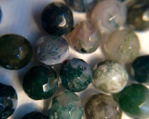 Facted Moss Agate Beads