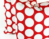 PILLOW SALE. Red Pillow,  pillows, red and  White,  Cushion,  polka ,Covers,set of two,Pillow Case,Select your size