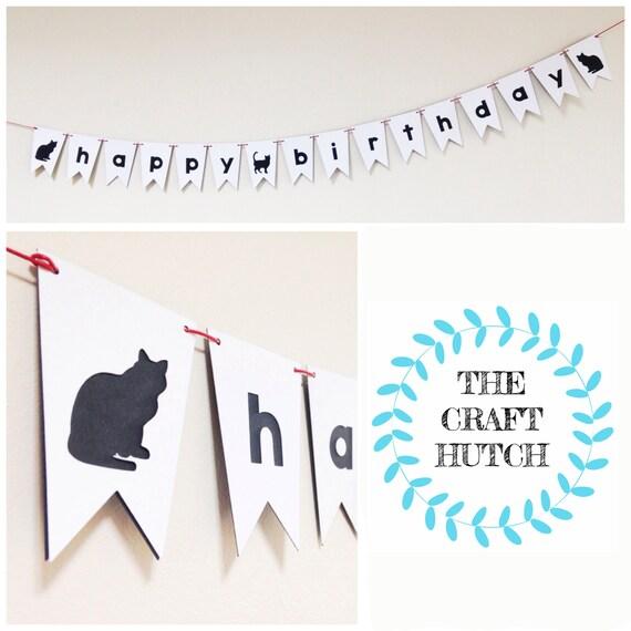 Cat Birthday Banner: Happy Birthday Cat Bunting / Mini Bunting / Happy Birthday