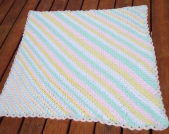 Pastel/ Baby Blanket/ Crochet