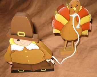 pilgrim boy w/ pet turkey
