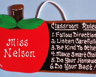 Personalized Teacher Classroom Rules Name APPLE SIGN Wall Room School Plaque