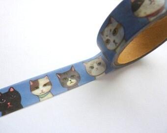 Kawaii Cats on Blue Washi Tape 15mm x 10m