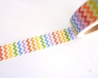 Rainbow Chevrons Washi Tape 15mm x 10m