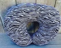 Zebra boppy cover - purple minky and zebra baby girl boppy cover - baby shower gift