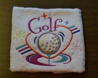 Machine Embroidery Retro Look Golf Towel