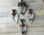Quartz arrowhead pendants in oxidized copper-Ooak Wire Wrapped pendant- Women Jewelry-Warrior Amulets- Wire Wrapping