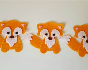 3 Handmade Fox Embellishments.Die cut animals.Felt animals.Craft embellishments.Card making, scrapbooking.free p&p