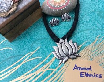 Adjustable Black Thread Lotus Oxidized Necklace Set