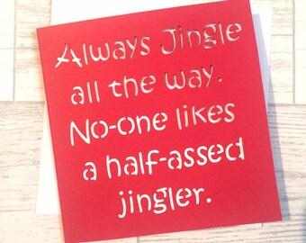 funny christmas card, christmas card, jingle all the way, elf christmas, christmas humour, xmas card, reindeer card, card for friend