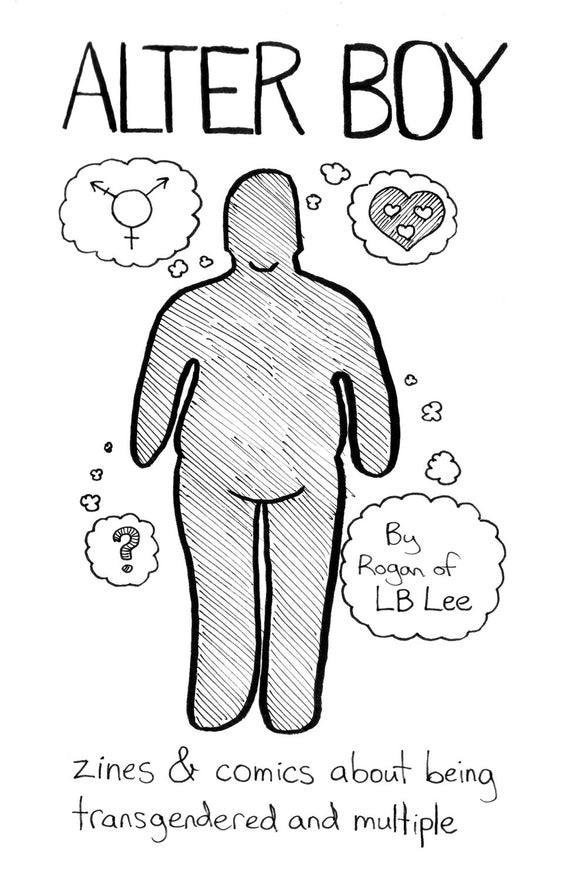 The cover of Alter Boy, by Rogan of LB Lee.  Has a little blobby silhouette with thought bubbles.  One contains a transgender symbol, another a question mark, and a third has a large heart containing multiple smaller hearts.