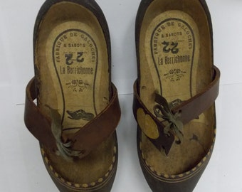 Fabrique De Galoches La Berrichonne French Wooden Clogs Sabots with Leather La Chatre