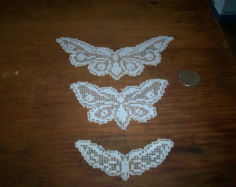 Cotton 1800s antique filet lace applique butterflies in 3 sizes