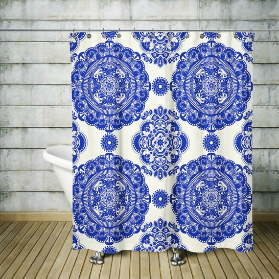 Boho Chic Mandala Shower Curtain Blue Willow By Folkandfunky