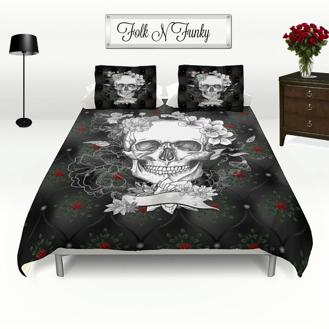 Skull Bedding Duvet Cover Set Faux Black Quilted Satin