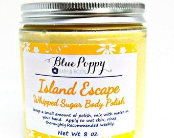 Body Scrub, Island Escape Whipped Sugar Scrub, Body Polish, Emusified Scrub, Moisturizing Lotion Body Scrub, Gift for Her, Spa Gift
