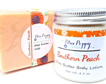 Southern Peach Soap & Lotion Gift Set, Peach Bath Set, Shea Butter Soap Set, Gift for Teacher, Gift for Her, Bath Beauty Gift