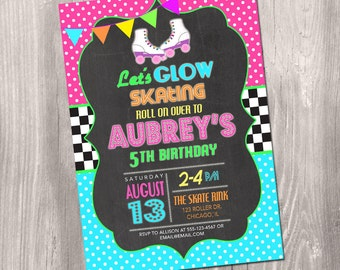 Roller Skating Birthday Invitation, neon roller skating, glow in the dark, glow skating invite, skating invitation, Printable Invite