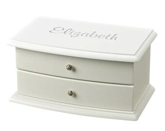 Flower Girl Bridesmaid Keepsake Jewelry Box Personalized For Free White Jewelry Keepsake Box Jewelry Box Wood Keepsake Box