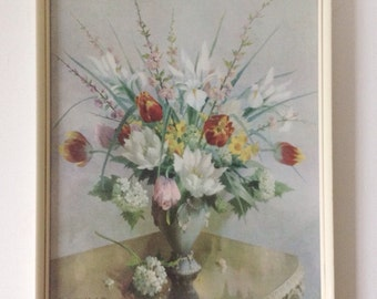 Vintage Vernon Ward print, midcentury floral framed picture of spring flowers 'Spring Grouping'