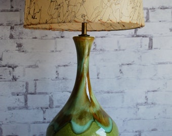 Mid Century Modern Green Drip Glaze Table Lamp, Shade Sold Separately