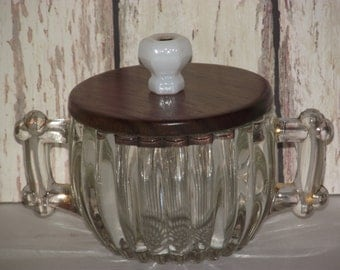 Vintage 1940's heavy crystal sugar with retrofitted 2 part black walnut lid & colored glass hexagonal knob.