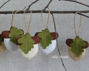 Winter Acorns, Christmas Acorn, Set of 7  Felt Christmas Decoration, Snow Acorns, Rustic Acorn Ornaments, White Acorns, Woodland ornament