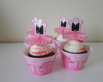 One Dozen Sets Cupcake Wrappers With 2 Sided Picks- Cupcake Toppers  - Pretty Pink Dancing Ballerinas - Too Sweet!