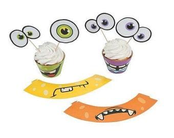 One Dozen Monster Cupcake Wrappers & Picks- Cupcake Toppers - Monster theme - Monsters - Monster Party