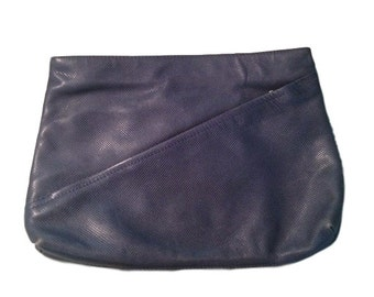 Bottega Veneta Blue Leather Zippered Clutch