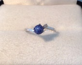 10K White Gold Blue Star Sapphire Vintage Ring with Small Diamond Accent Genuine Star Gemstone