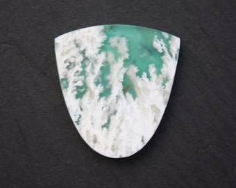 Stinking Water, Plume Agate, over Chrysocolla, Cabochon