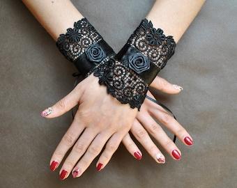 Elegant GOTHIC VAMPIRE Victorian Burlesque Glamour CUFFS, handbands, pair black guipure, satin ribbon, rose,  weddings, festivals, Halloween