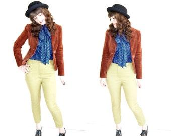 Split End Ltd 70s vintage rust suede blazer jacket 100% leather