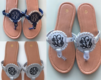 Monogrammed Medallion Sandals