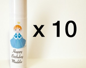 Ice Princess Lip Balm Birthday Party Favors 10 Pack (can be personalized!)