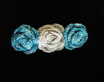Crochet Flower hair barrette, Crochet rose barrette, handmade hair clip, handmade hair barrette, Flower hair barrette, Hair barrette, hair