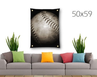 Softball Tapestry-Baseball Tapestry-Canvas Tapestry-Sports Wall Decor-Black & White Wall Hanging-Vertical Tapestry-Outdoor Tapestry