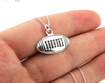Sterling Silver 925 American Football Ball Pendant necklace Football Ball charm with chain (N110)