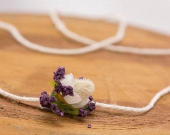 Lavender Foxtail Headband - Newborn - 6 month - Photo Prop: Newborn Tieback, Newborn Twine, Newborn Halo, Organic Photography Props, flower