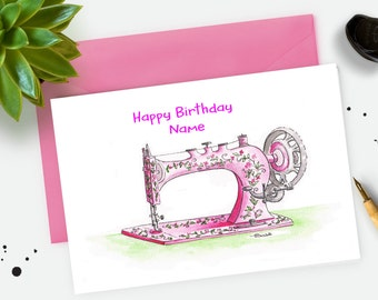 Vintage Sewing Machine. Art Greetings Card. Watercolour Artist. Vintage sewing Machine card. Mothers Day Card. Birthday Card. Personalised