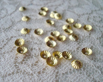 100 Tiny Brass Caps!  4.5mm.  Gold Plated, Fluted, Mini Dome Caps.  Perfect Fit 5-6mm Bead  ~USPS Standard Ship Rates from Oregon