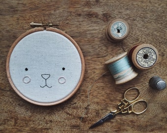 Animal Face Embroidery Hoop