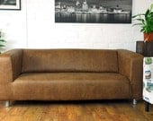 Ikea Klippan 2 seat slipcover in Tan Vintage Distressed leather look