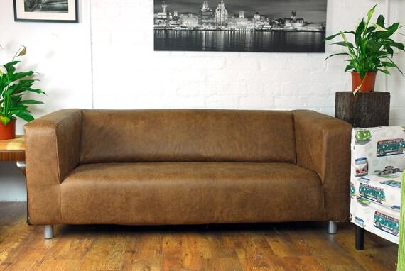 lair ikea klippan 2 housse de si ge en cuir tan vintage. Black Bedroom Furniture Sets. Home Design Ideas