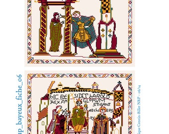 Aelfgyva and Harold Bayeux embroidery in cross stitch
