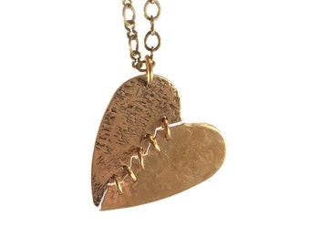 Mended Heart Necklace, Stitched Hearts, Brass Jewelry, Romantic Jewellery, Heart Pendant, Broken Heart, Relationship Jewelry, Bohochic