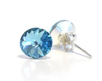 Sterling Silver Earrings Aquamarine